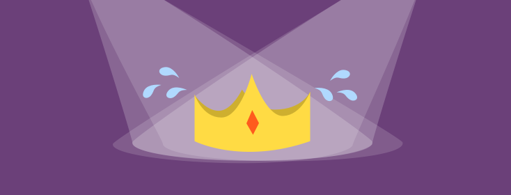 """Crown in spotlights with """"sweat"""" drops or tears to symbolize stress of psoriasis"""