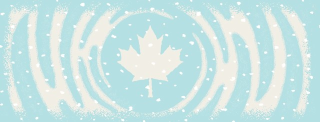 swirling snow mounds around a Canadian maple leaf