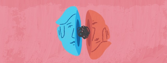 Half of blue face on the left. Half of red face, upside down. Between the two half faces is a black circular scribble