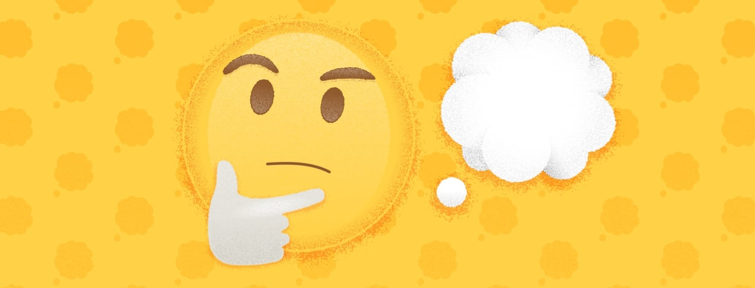 the thinking emoji face and the thought bubble emoji on a patterned background.