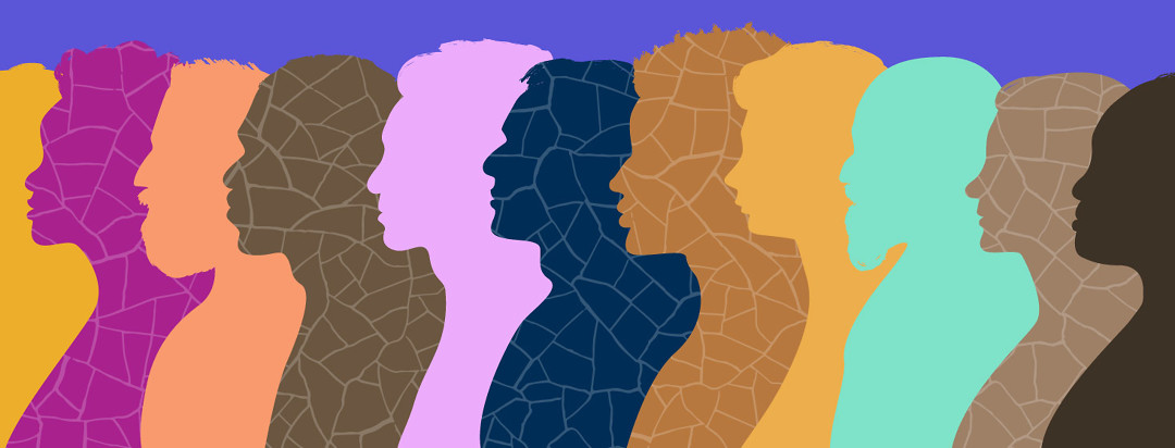 A row of varied profile silhouettes' facing left with different textures and unique facial features.