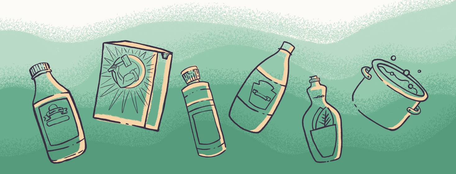 Line drawing illustrations of all the various cleaning supplies mentioned in the article.