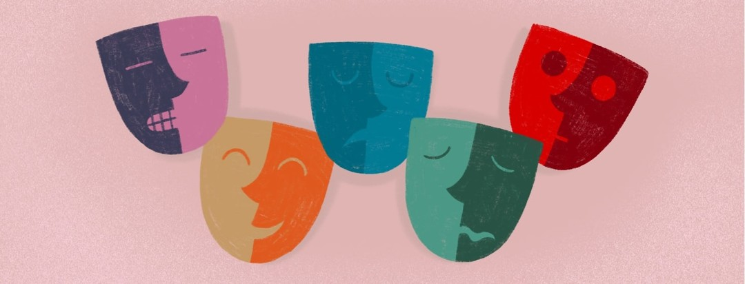 5 theatre masks representing the 5 emotions mentioned in the article.