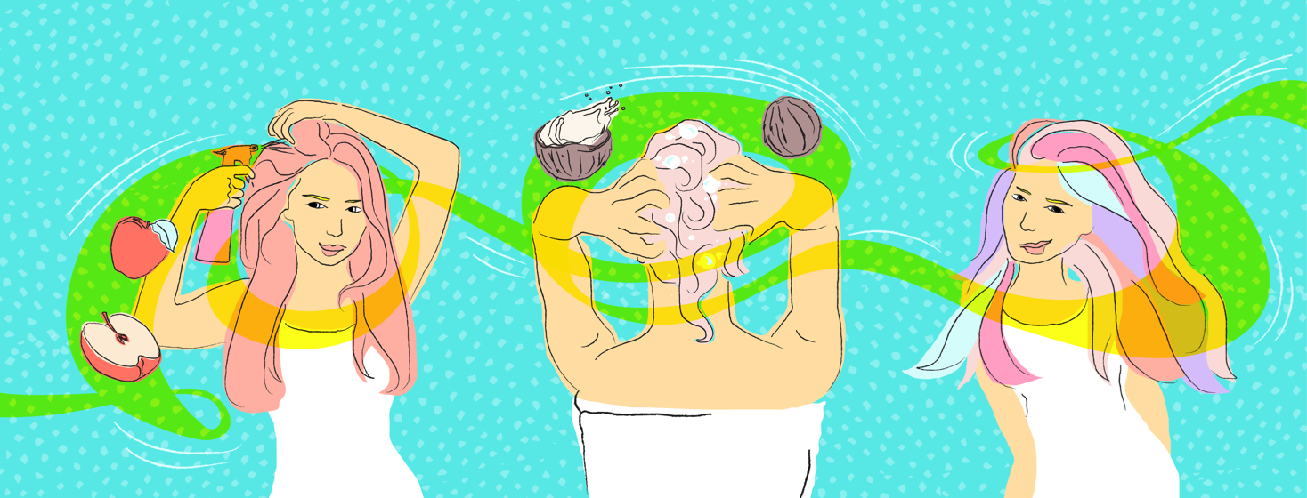 Three different views of a woman caring for her scalp using the outlined points.
