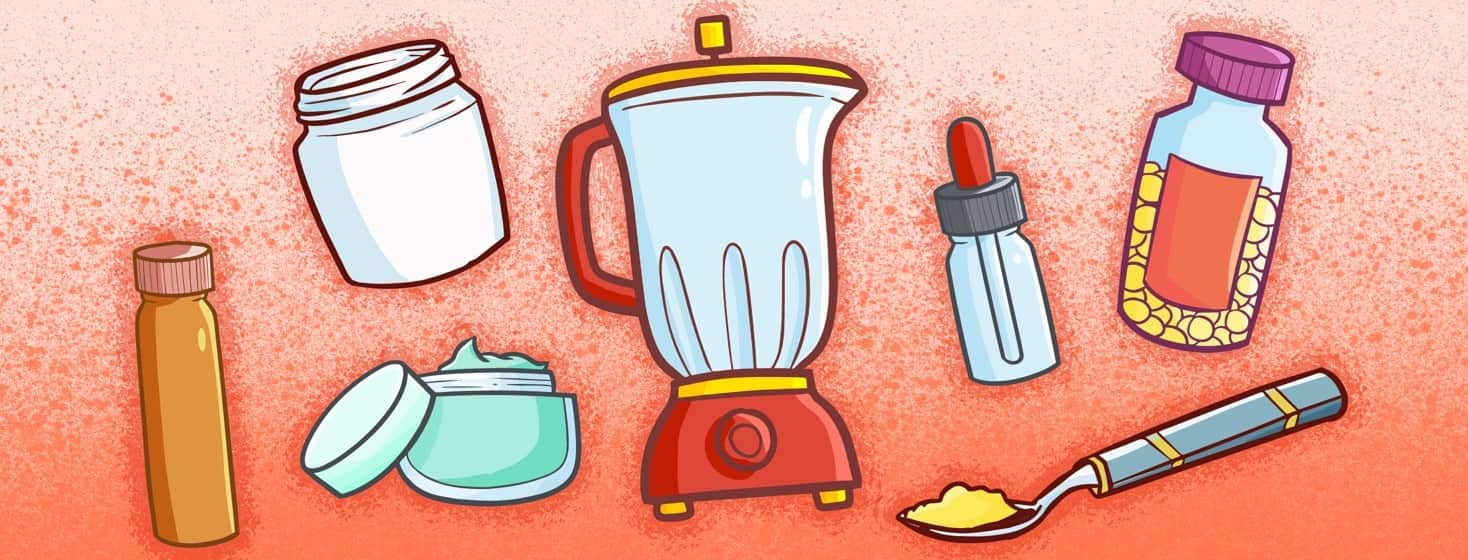Illustration of the objects referenced in the recipe in the body of the article. They're all joyfully floating around the blender.