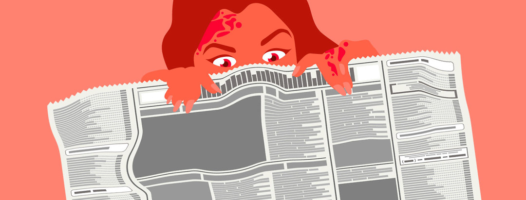 A fearful woman covers her face with a newspaper.
