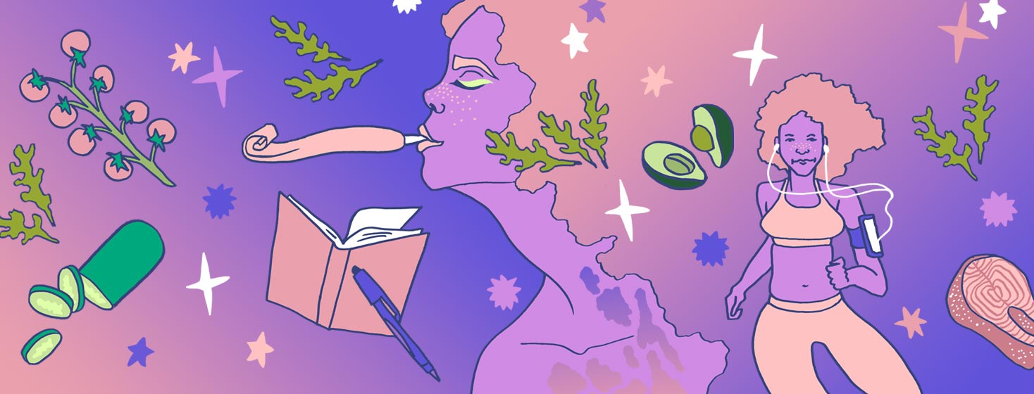 A woman celebrating a new year. There are illustrations of healthy trigger suppressing foods and activities floating around her.