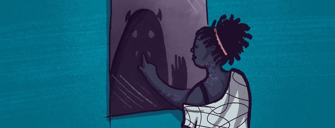 A black woman looking at a mirror. Reflecting back at her is a monster representation of her shadow self. The woman is placing a finger over the mouth of the shadow self's mouth silencing it.