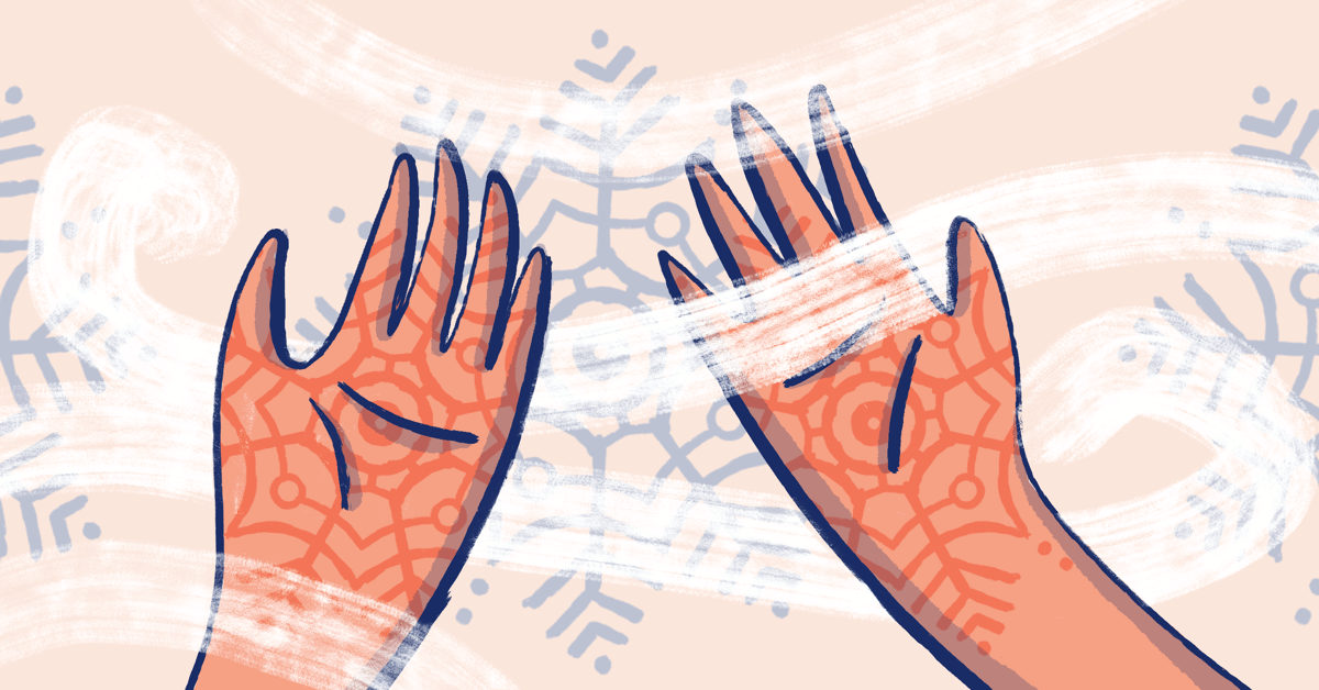 Two hands, palm facing up, red and inflamed with the plaque pattern making a snowflake design. There are cold wind gusts blowing through the hands. In the background, there is a snow and winter design