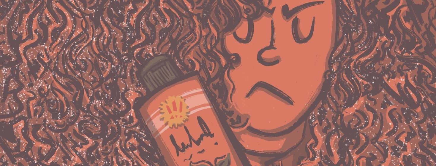 """An angry and disgusted woman looks at a hair care bottle with a """"new"""" label on it. The womans curly hair is filling the whole image."""