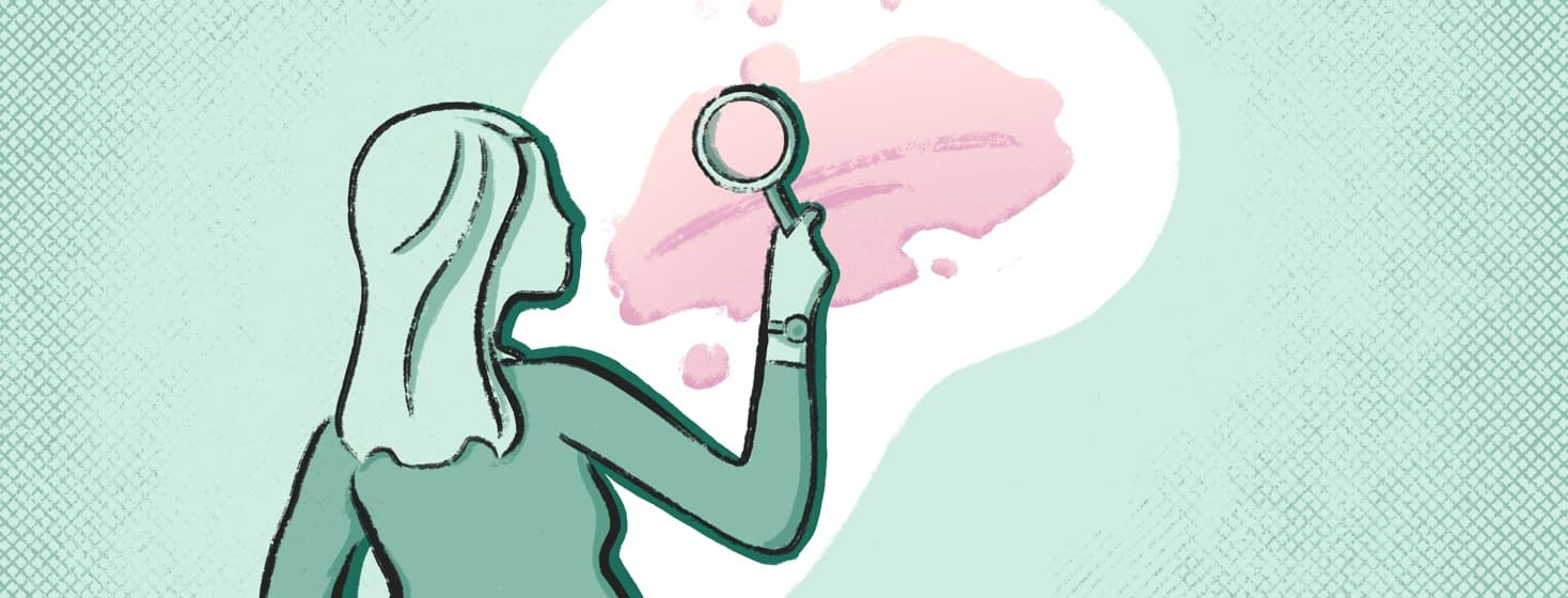 A woman holding a magnifying glass looking at a rendering of what inverse psoriasis looks like.