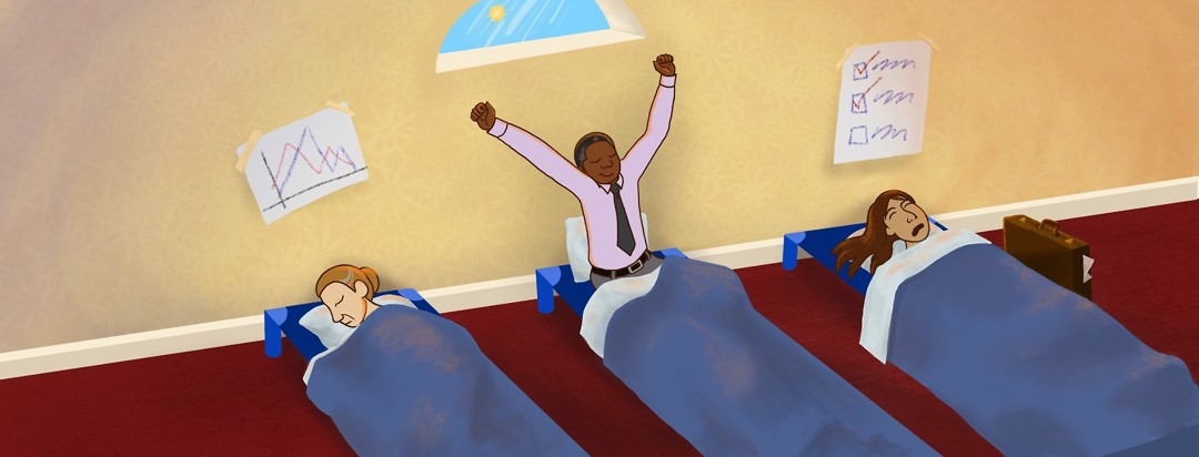 Three adults in business clothes snooze in preschool-style nap cots.