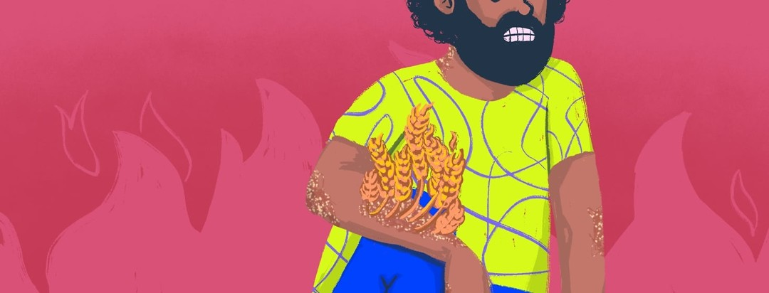 A grimacing man with an large patch of plaques on his arm. Stemming from the plaques is wheat in the shape of a fire.