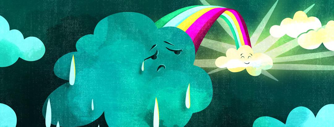 A sad raining cloud looks behind him to see a rainbow leading to sunnier skies.