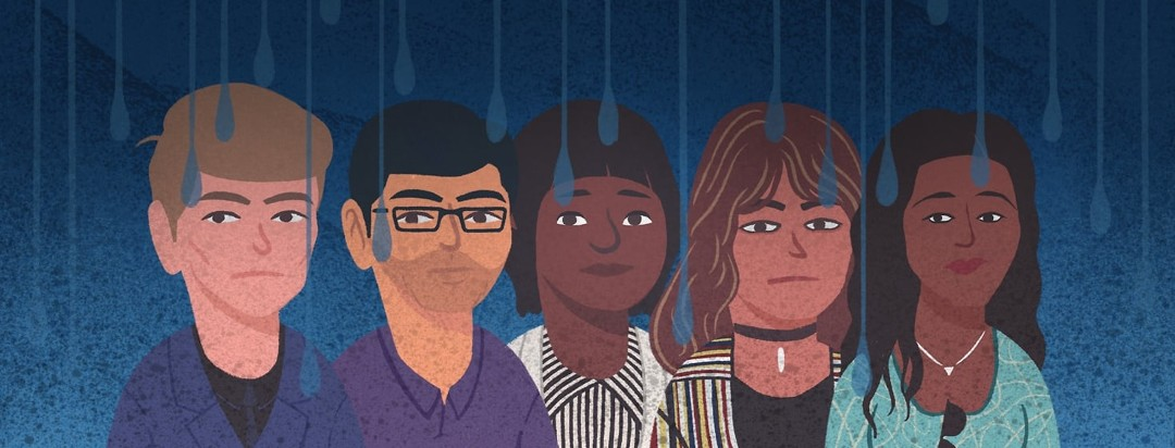 All of the Ask the Advocate, advocates with a skeptical and sad look on their face. There are shadows and raindrops falling over all of the advocate's faces