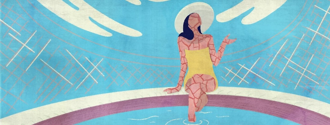 A model-like woman sitting in a bathing suit on the side of a pool. Her skin is textured and cracking.