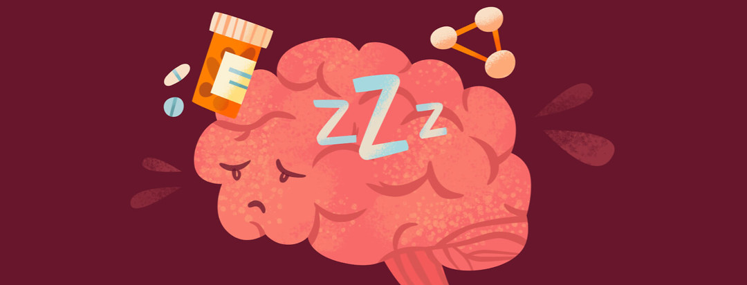Unhappy brain with a pill bottle, sleeping Zs, and hormones floating around it