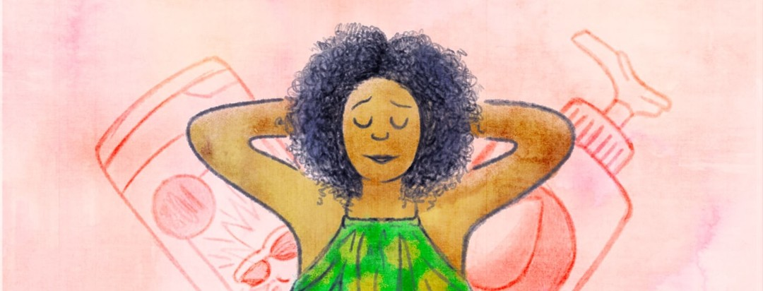 A woman with relaxing with her arms behind her head. She has a look of bliss on her face because she's in summertime remission.