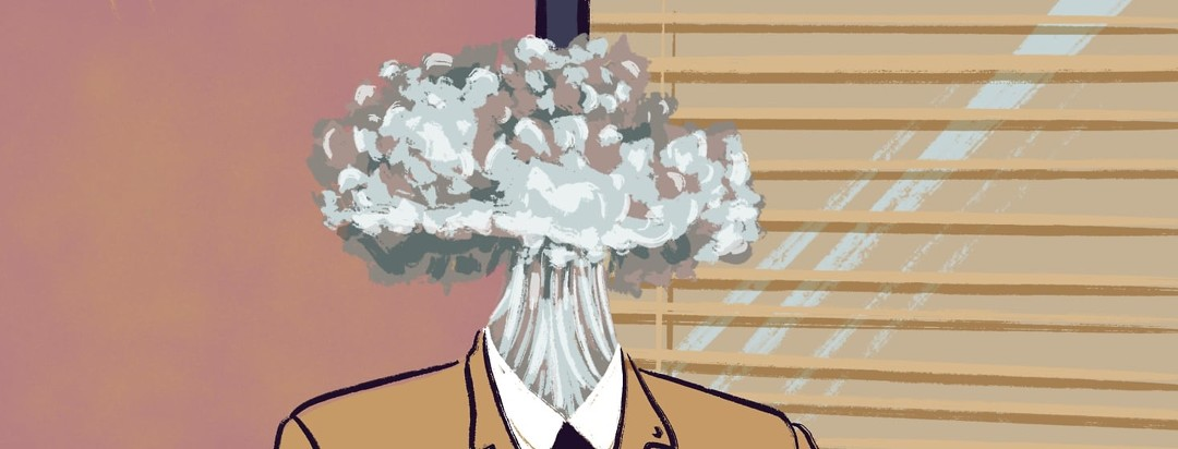 A person wearing a suit sits in front of a beige wall and window. Instead of a head there is a poof of smoke.
