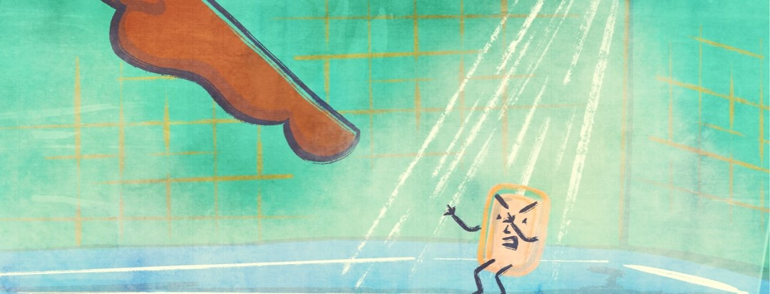 A person trepidatiously stepping into the steamy shower while there is an angry soap getting ready to attack their foot.