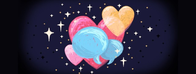 Two speech bubbles overlapping each other in front of overlapping hearts and stars