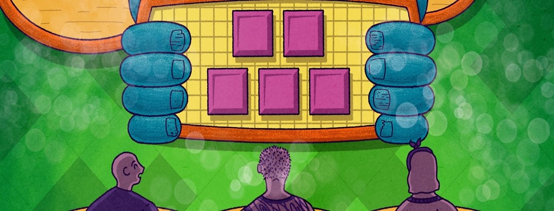 Three contestants standing at game show podiums looking up at a board with hands with nail psoriasis holding on to either side.