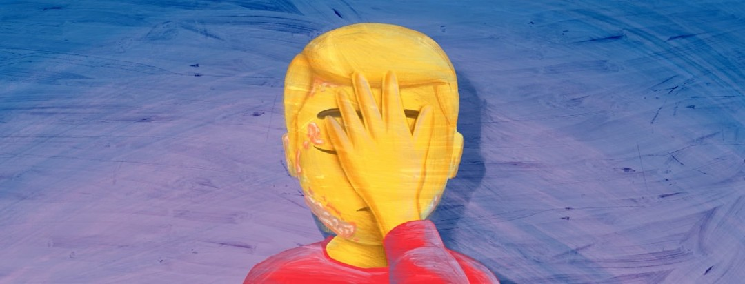 A male emoji doing a facepalm. On their eye, chin, scalp, and ear are patches of plaques.