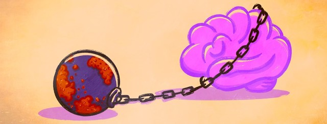 A plaque covered weighted ball is attached to a chain that is wrapped around a brain.