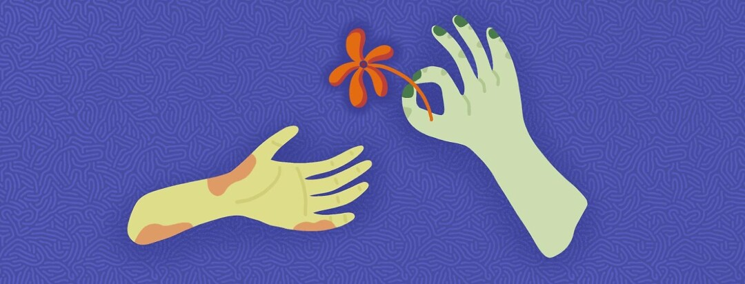A hand with plaque psoriasis is extended to receive a flower from a hand without plaque psoriasis.