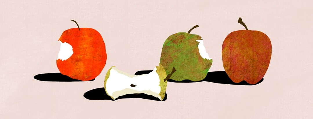 1 apple core, 2 apples with a bite out of them, and 1 whole apple