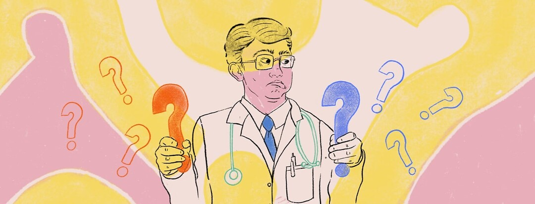 Doctor holding a different colored question mark in each hand looking puzzled