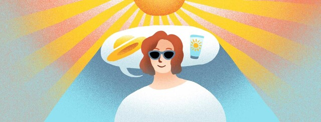 A woman's speech bubble, which is filled with a hat and sunscreen symbol, wraps around behind her head, shading her from the intense sun rays above.