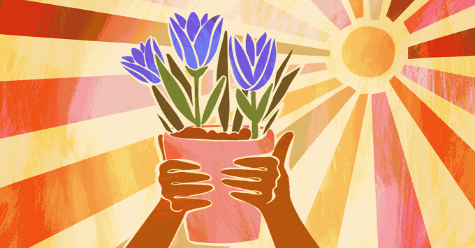 Hands holding up a flower pot with beautiful, vibrant, and thriving flowers and leaves with a glowing, gentle sun in the background. Sun therapy, skin, healing, heal, summer