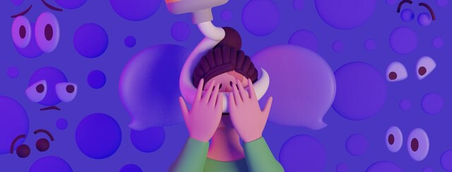A woman covering her face with her hands while floating eyes look at her. There is a huge tube of lotion wrapping around her face.