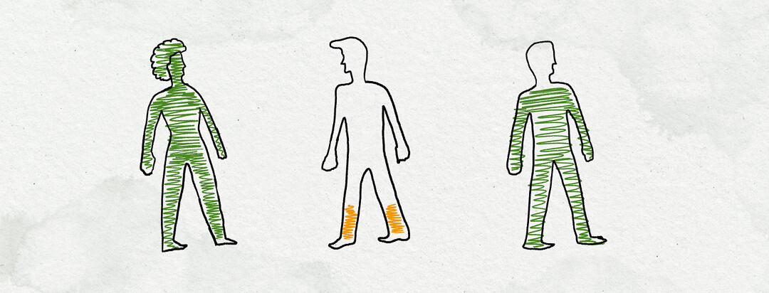 Three silhouettes of people, 2 with relatively full batteries and one with low battery