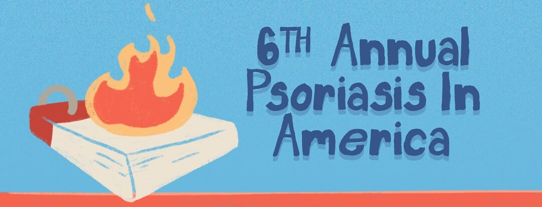 """A calendar with a flame on top of it. The text reads, """"6th Annual Psoriasis in America"""""""