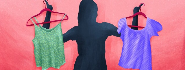A silhouette of a woman holding up two different shirts on hangers.