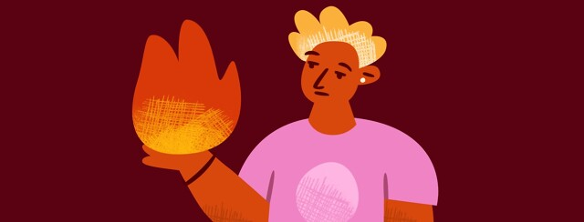 A person looking apathetically at a flame they hold in their hands.