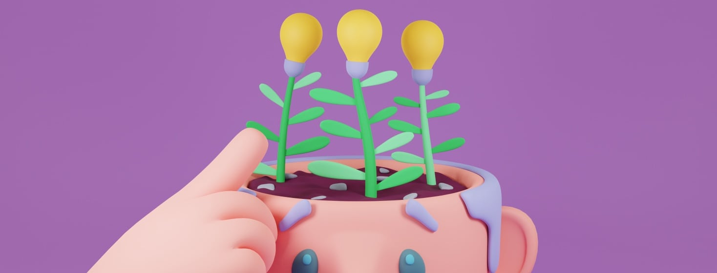A person pointing to the lightbulb plants growing from the soil in their head.