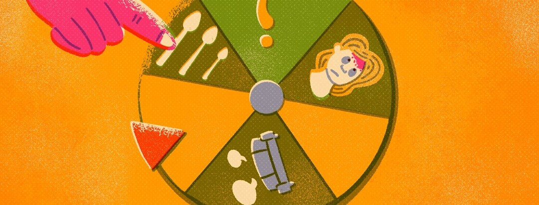A spinning wheel with question marks, spoons, a woman with scalp psoriasis icons on its face. The spinner wheel is on a blank spot while a large hand points at the spoons.