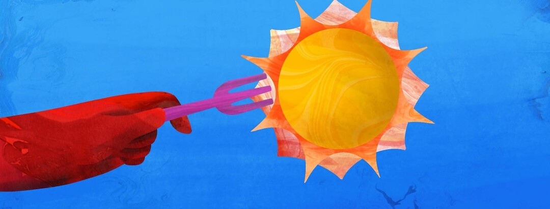 A hand is holding a fork with the sun attached to it in front of a bright blue sky.