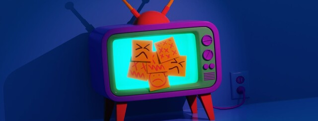 A glowing vintage vibrant tv covered with post-it notes. On the post-its are a variety of Xs and angry faces.