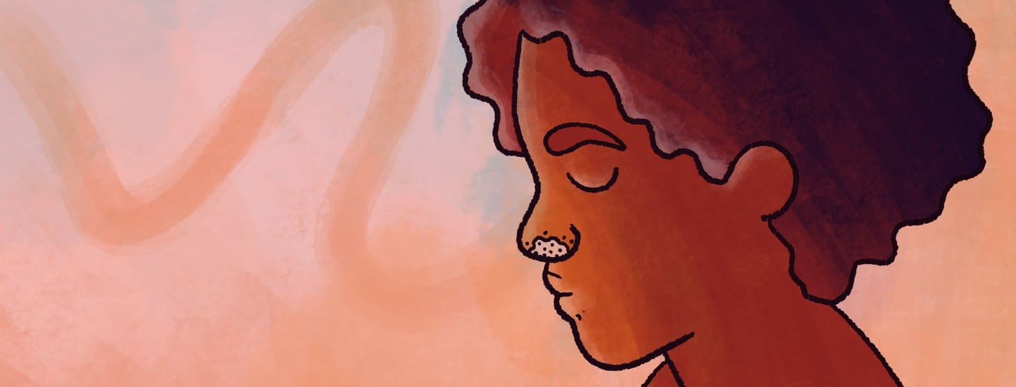A profile of a somber-looking black woman with a patch of plaques around her nostrils.