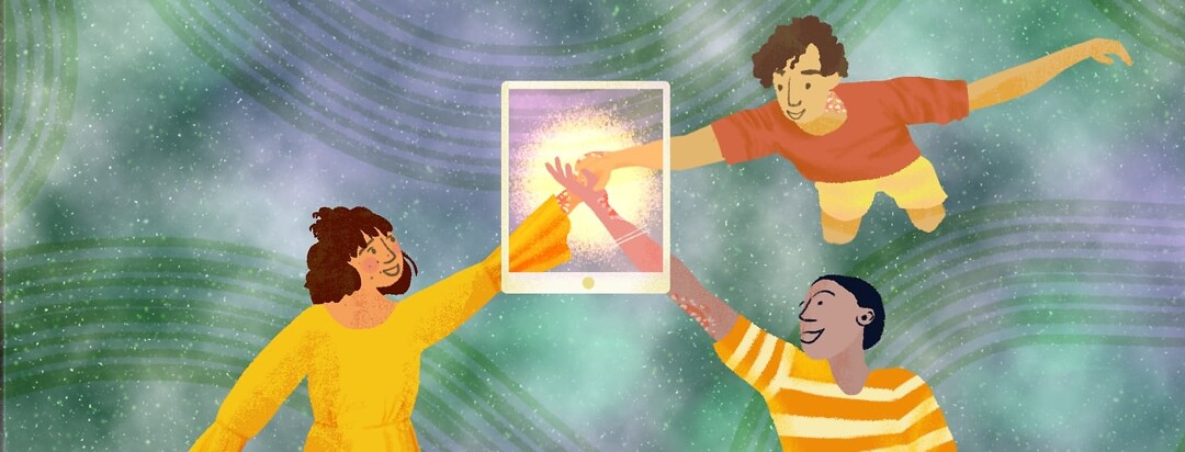 Three people connecting their hands in unity through an ipad.